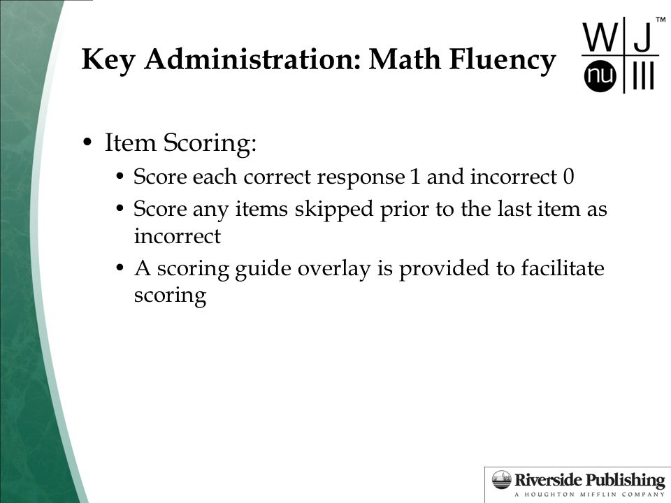 Key Administration: Math Fluency