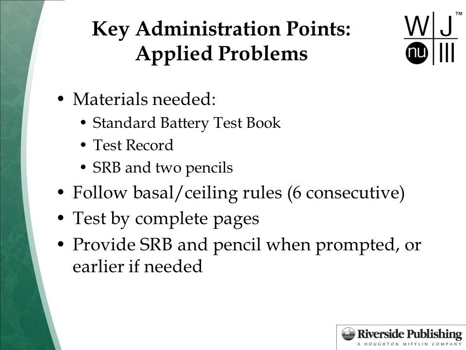 Key Administration Points: Applied Problems