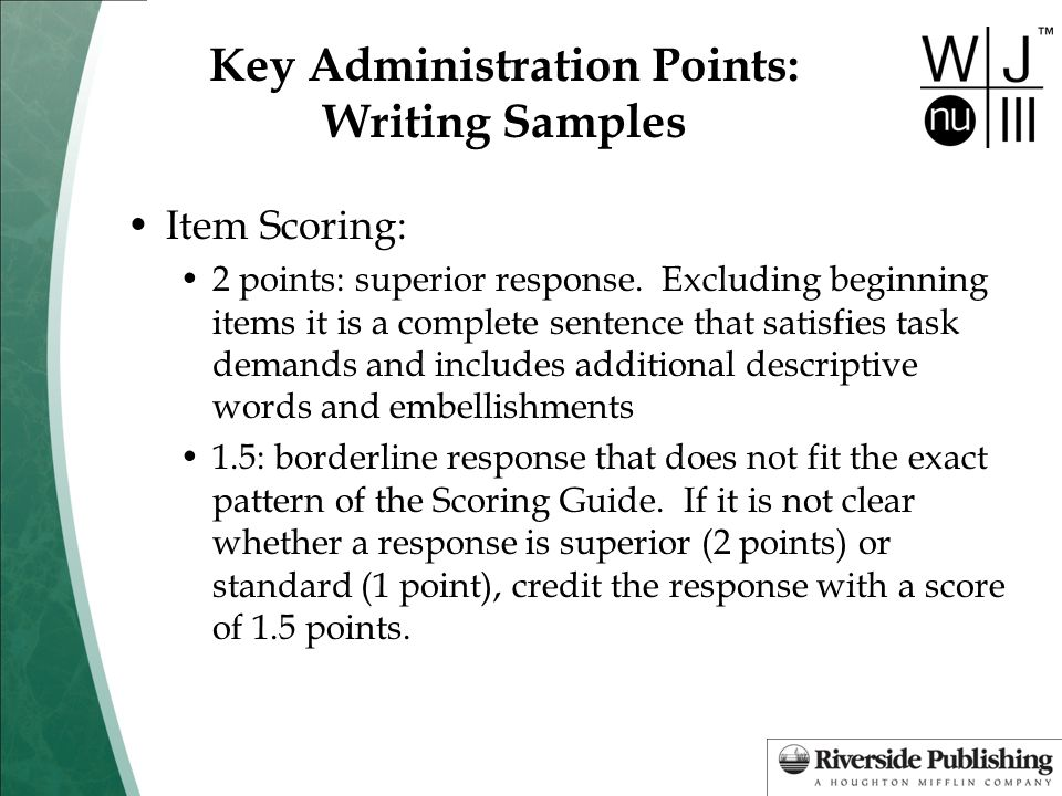 Key Administration Points: Writing Samples