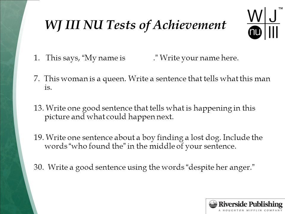 WJ III NU Tests of Achievement