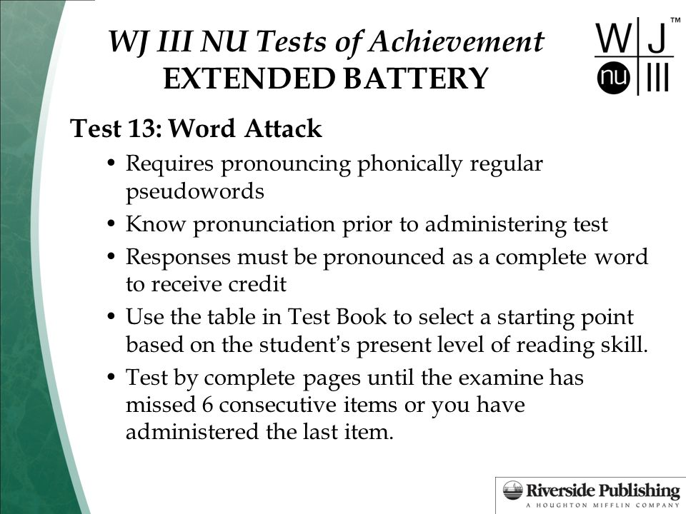 WJ III NU Tests of Achievement EXTENDED BATTERY
