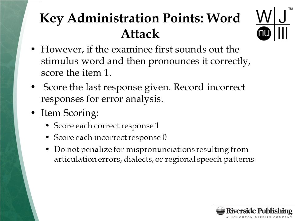 Key Administration Points: Word Attack