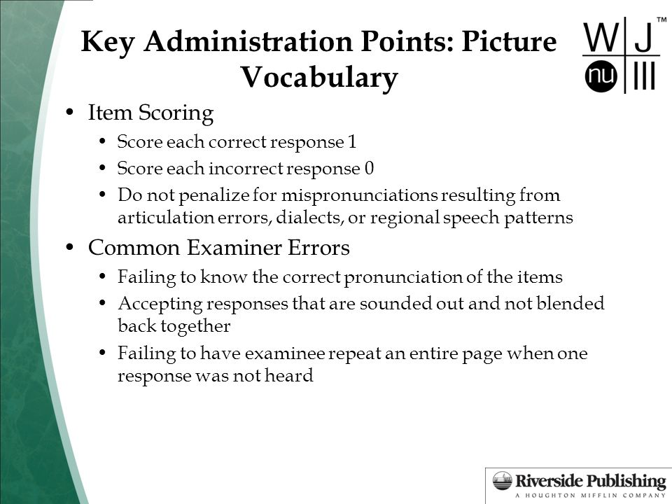 Key Administration Points: Picture Vocabulary