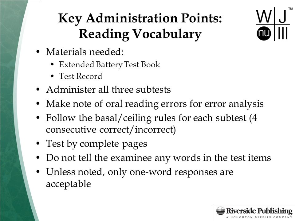 Key Administration Points: Reading Vocabulary