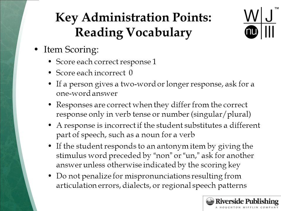 Key Administration Points: Reading Vocabulary
