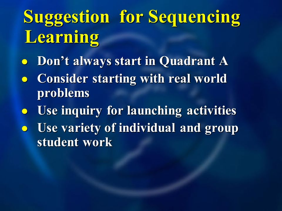 Suggestion for Sequencing Learning