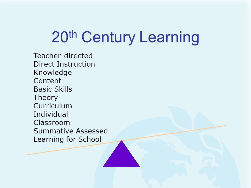 20th Century Learning Teacher-directed Direct Instruction Knowledge
