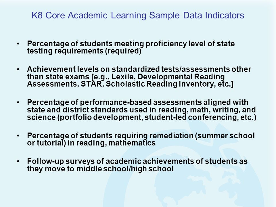 K8 Core Academic Learning Sample Data Indicators
