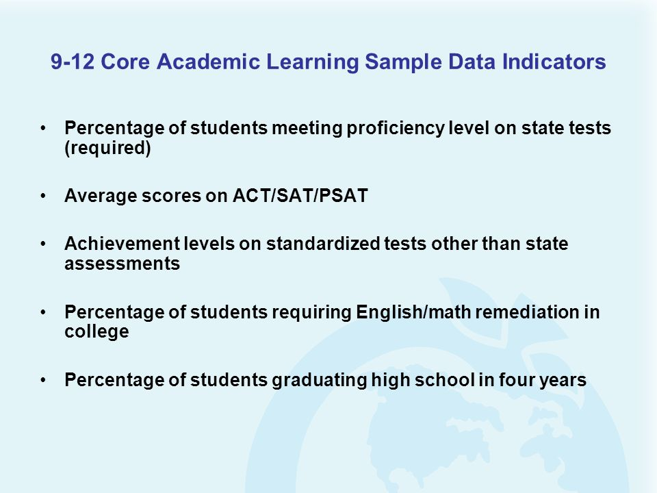 9-12 Core Academic Learning Sample Data Indicators