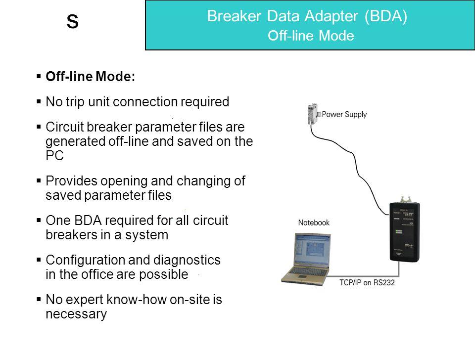 Breaker Data Adapter (BDA) Off-line Mode