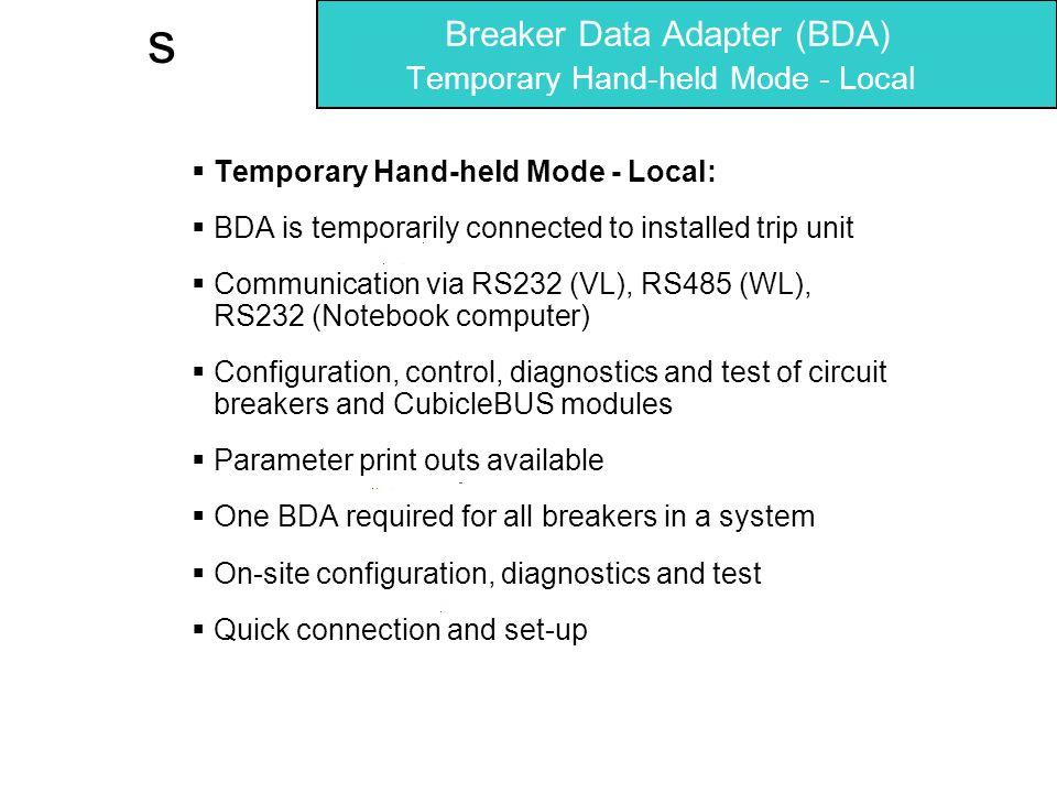 Breaker Data Adapter (BDA) Temporary Hand-held Mode - Local
