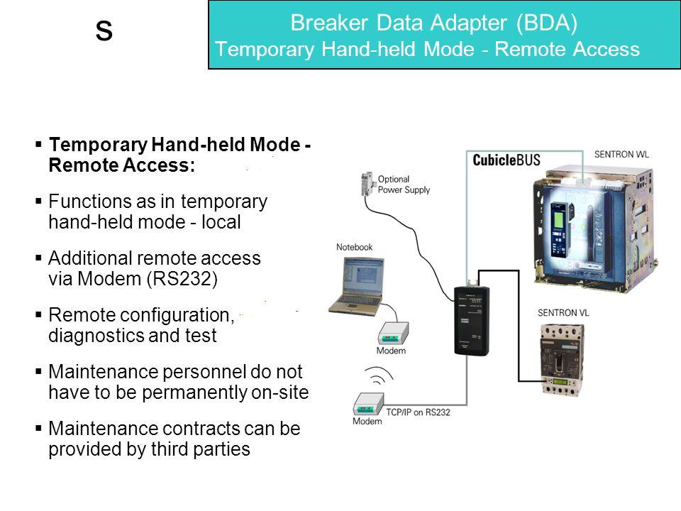 Breaker Data Adapter (BDA) Temporary Hand-held Mode - Remote Access