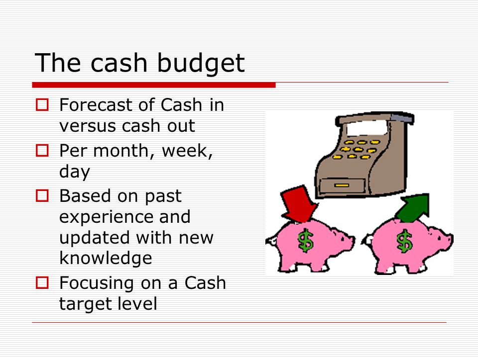 The cash budget Forecast of Cash in versus cash out