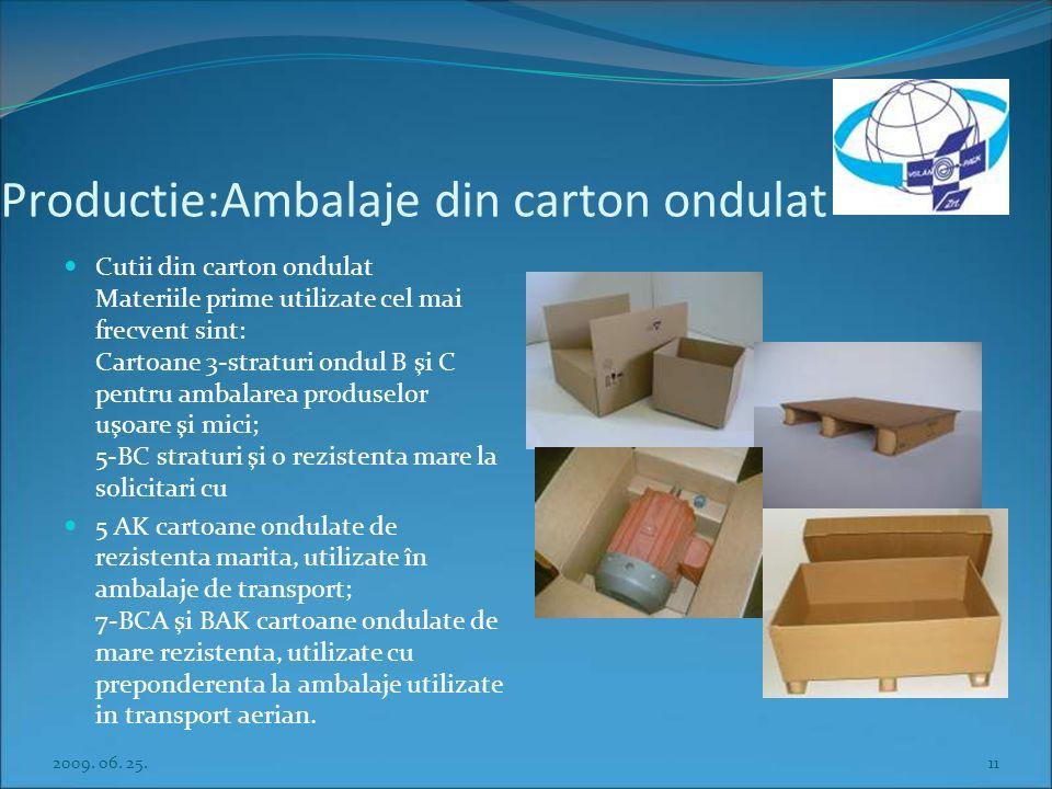 Productie:Ambalaje din carton ondulat