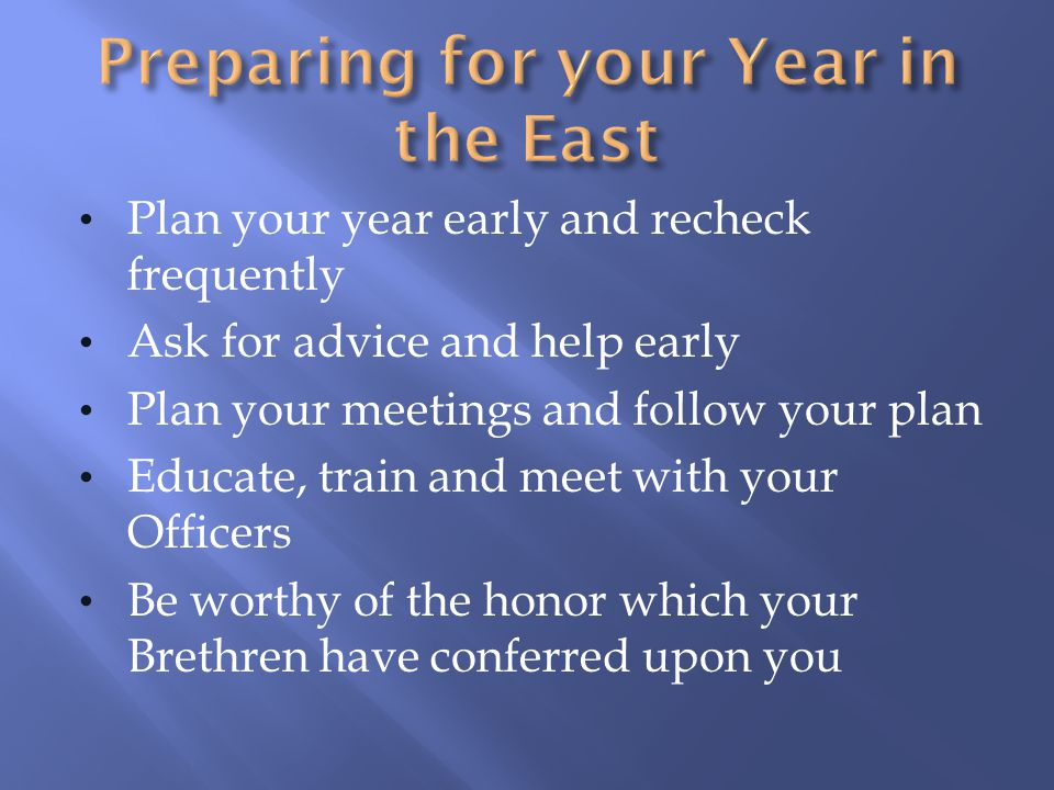Preparing for your Year in the East
