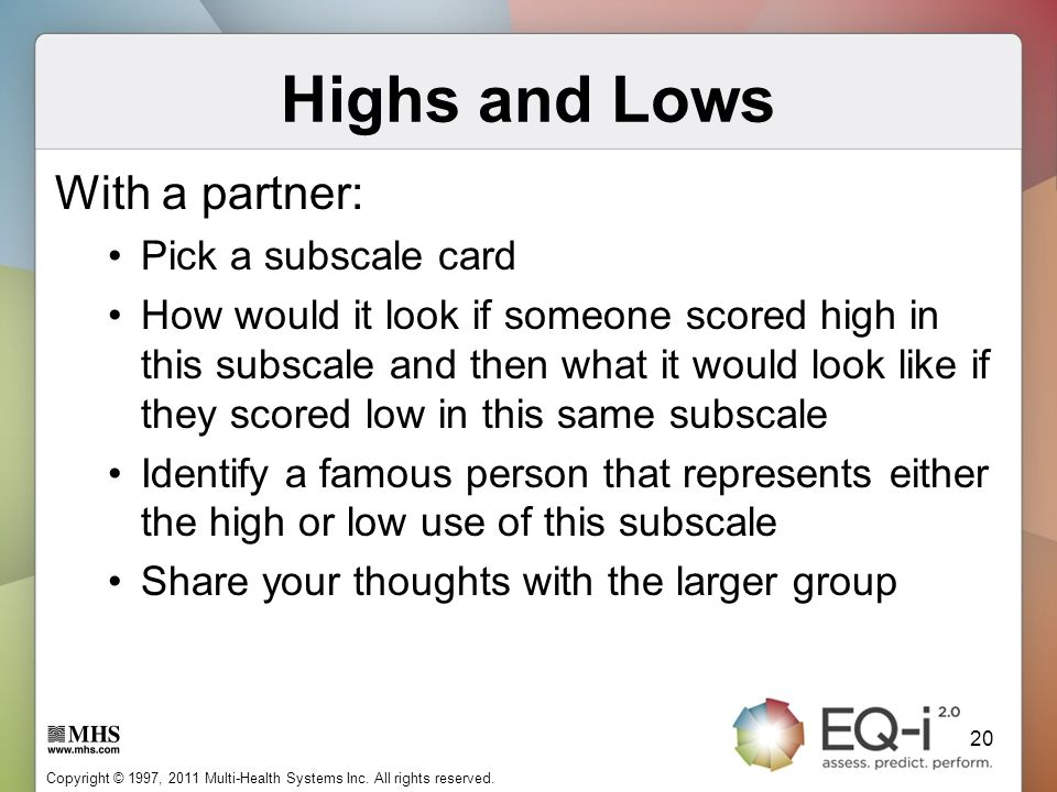 Highs and Lows With a partner: Pick a subscale card