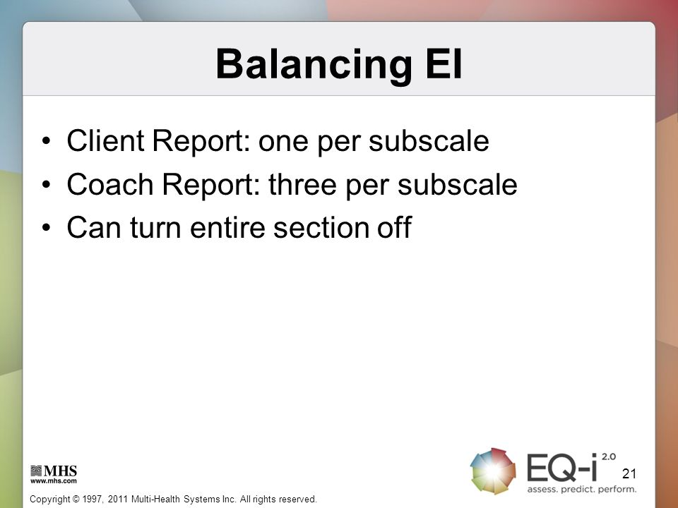 Balancing EI Client Report: one per subscale