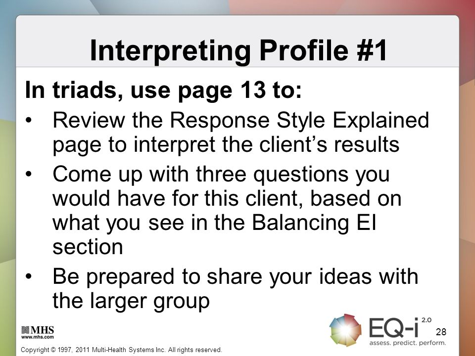 Interpreting Profile #1