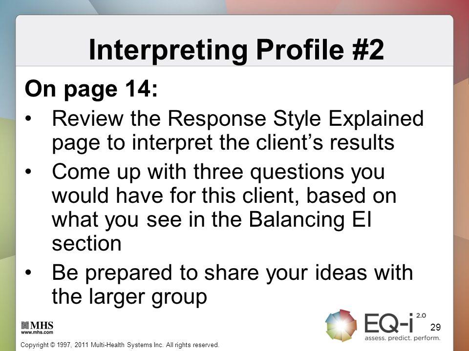 Interpreting Profile #2