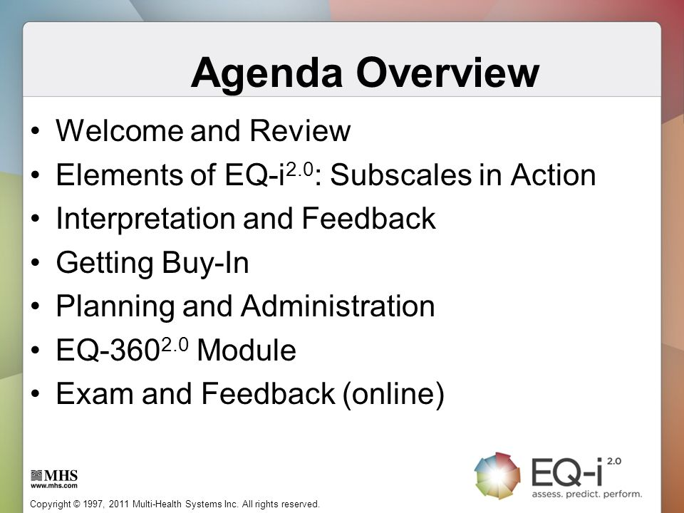 Agenda Overview Welcome and Review