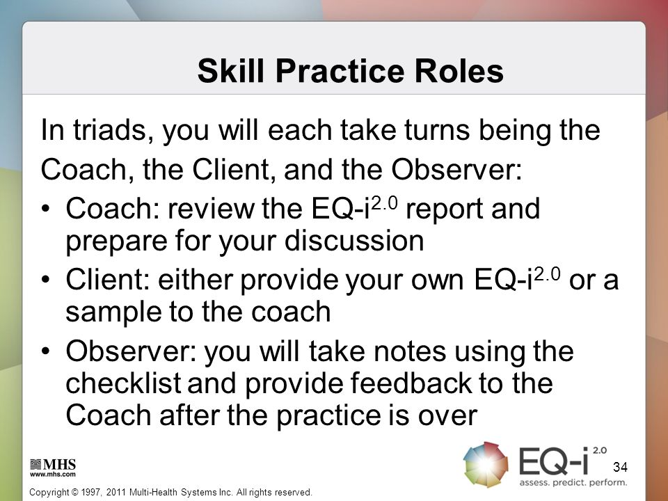 Skill Practice Roles In triads, you will each take turns being the