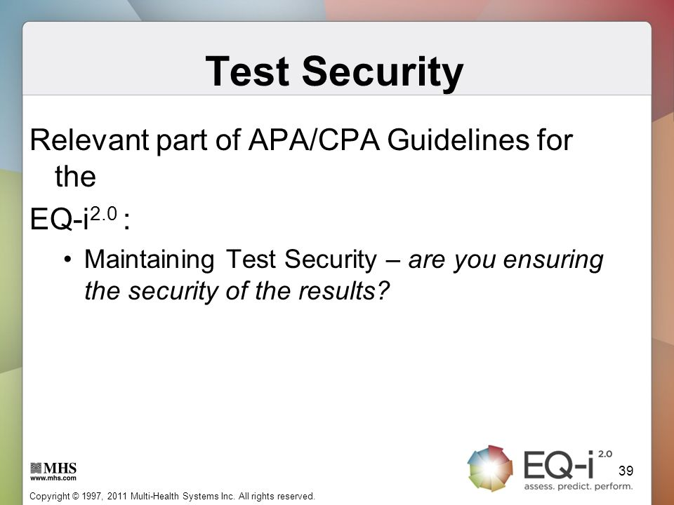 Test Security Relevant part of APA/CPA Guidelines for the EQ-i2.0 :