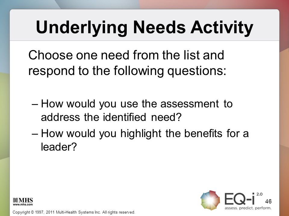 Underlying Needs Activity