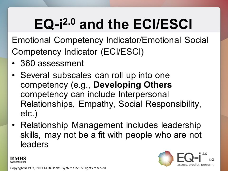 EQ-i2.0 and the ECI/ESCI Emotional Competency Indicator/Emotional Social. Competency Indicator (ECI/ESCI)