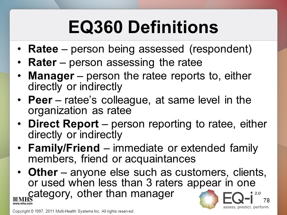 EQ360 Definitions Ratee – person being assessed (respondent)