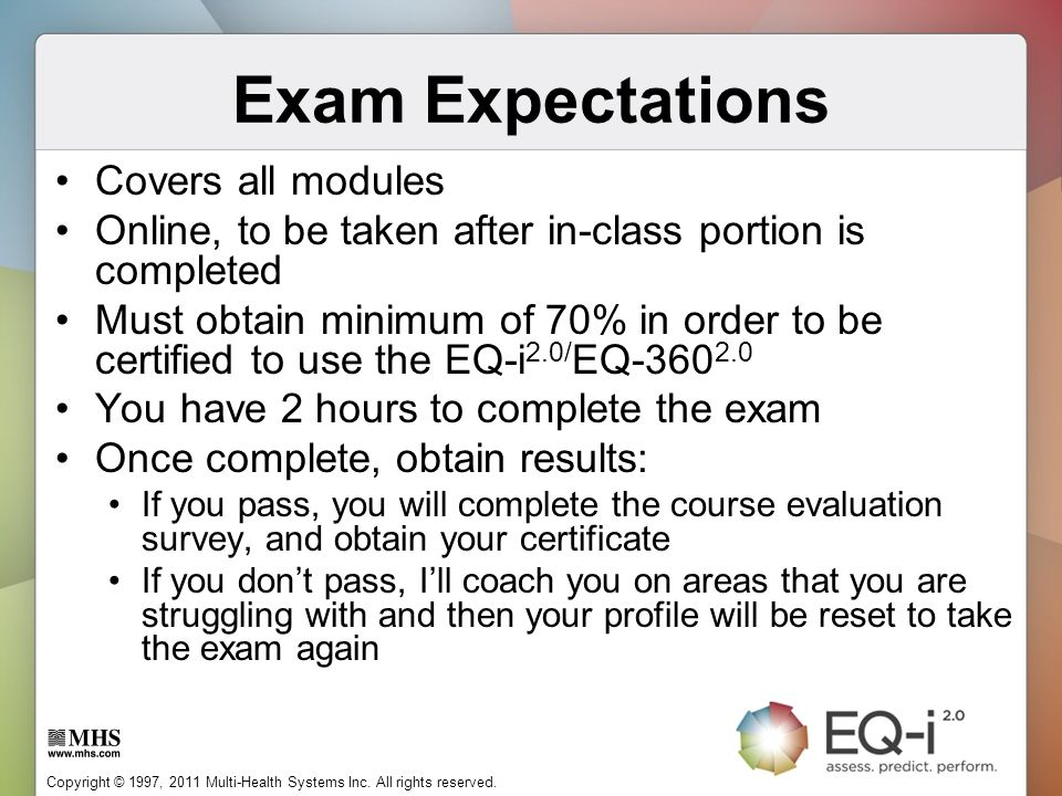 Exam Expectations Covers all modules