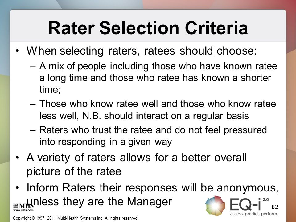 Rater Selection Criteria