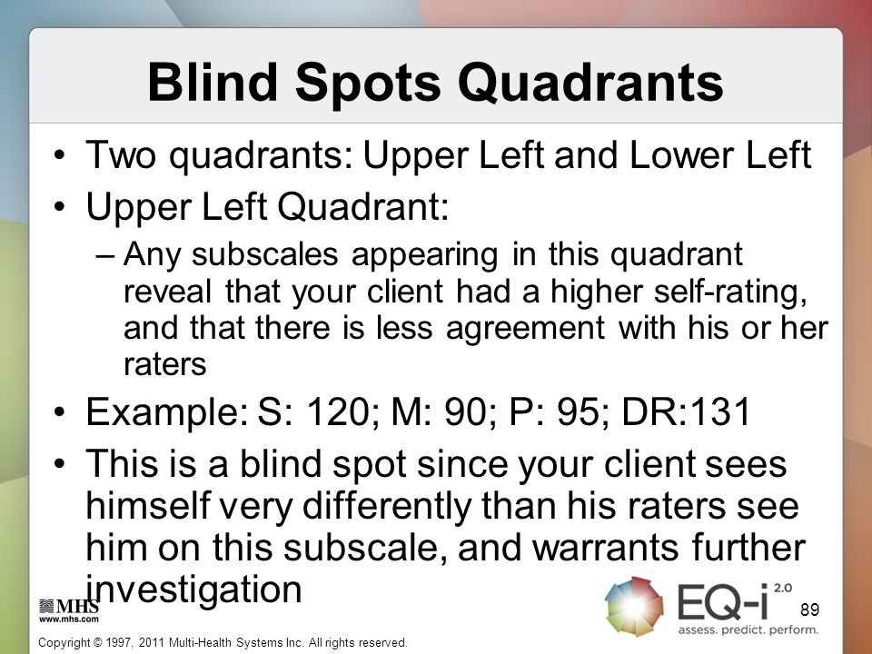 Blind Spots Quadrants Two quadrants: Upper Left and Lower Left