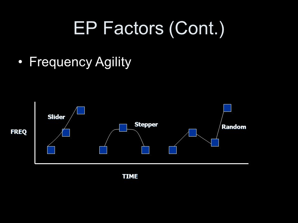 EP Factors (Cont.) Frequency Agility Slider Stepper Random FREQ TIME