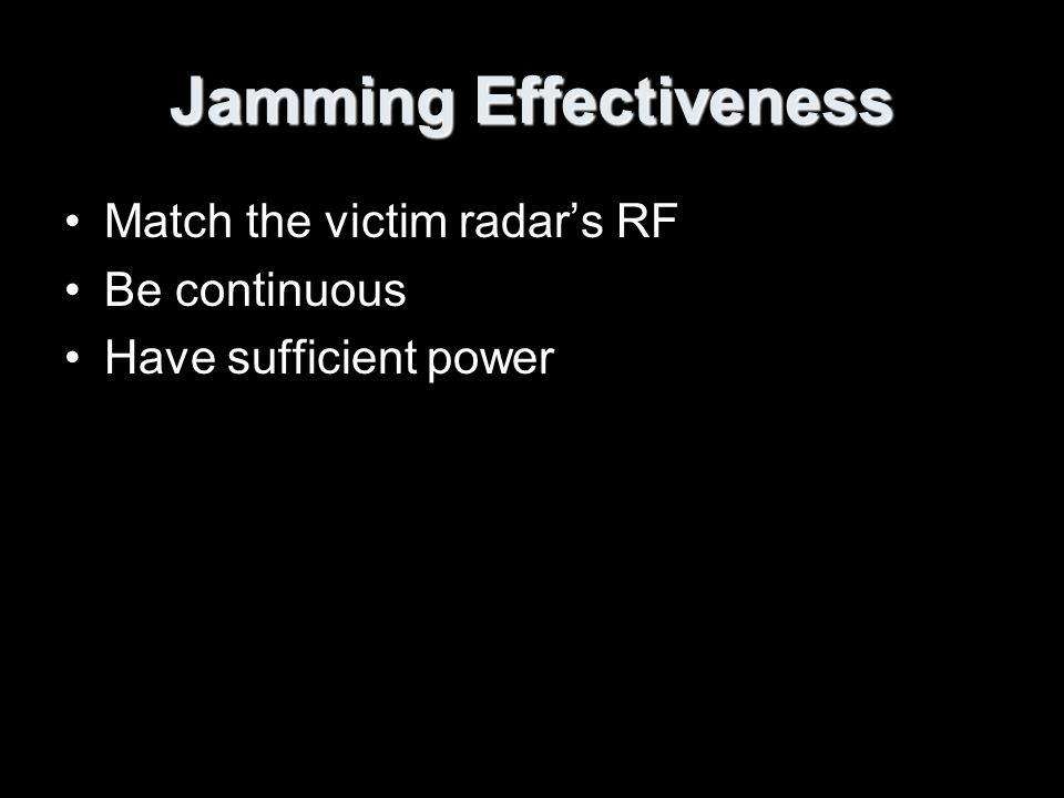 Jamming Effectiveness