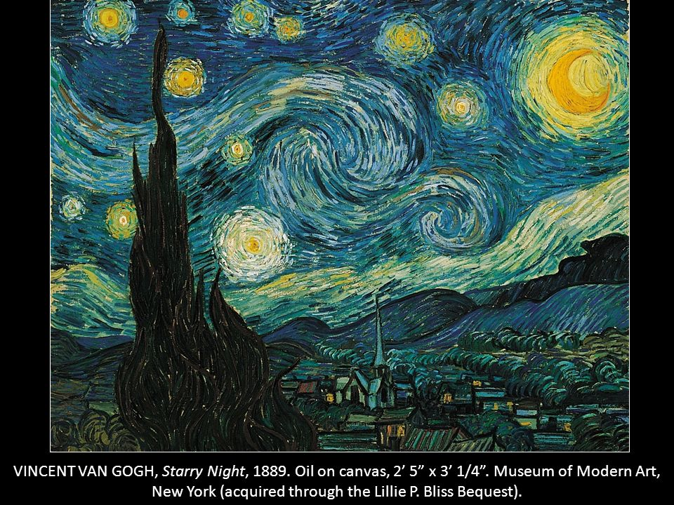 VINCENT VAN GOGH, Starry Night, 1889. Oil on canvas, 2' 5 x 3' 1/4