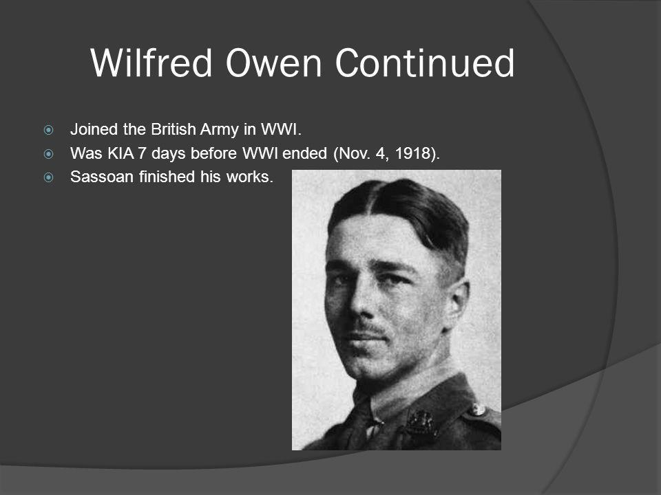 Wilfred Owen Continued