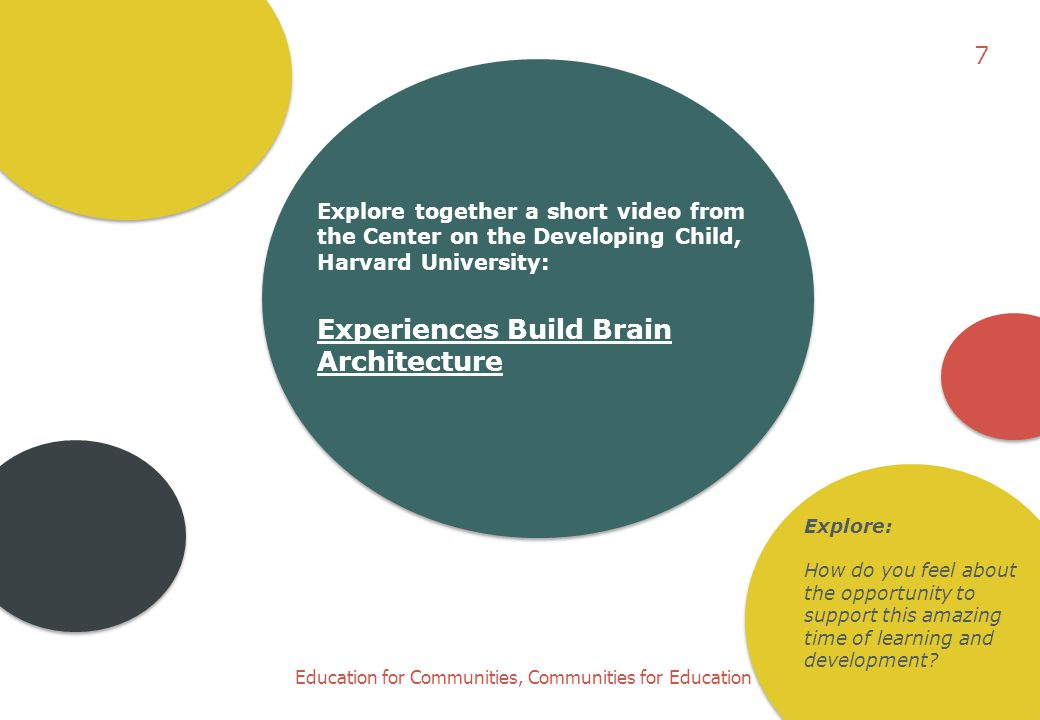7 Explore together a short video from the Center on the Developing Child, Harvard University: Experiences Build Brain Architecture.