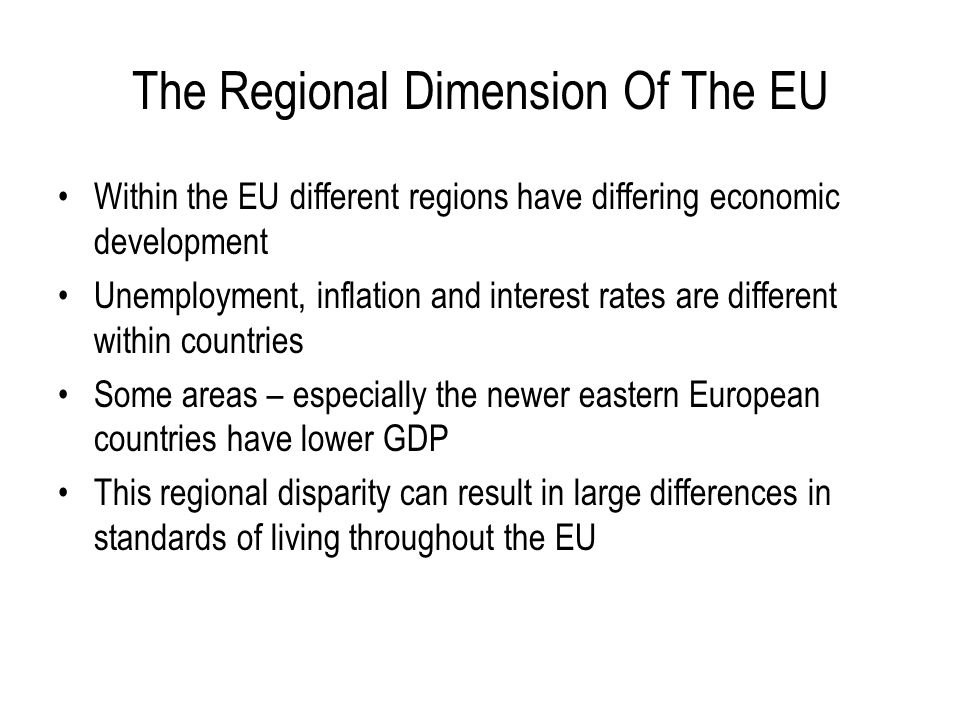 The Regional Dimension Of The EU