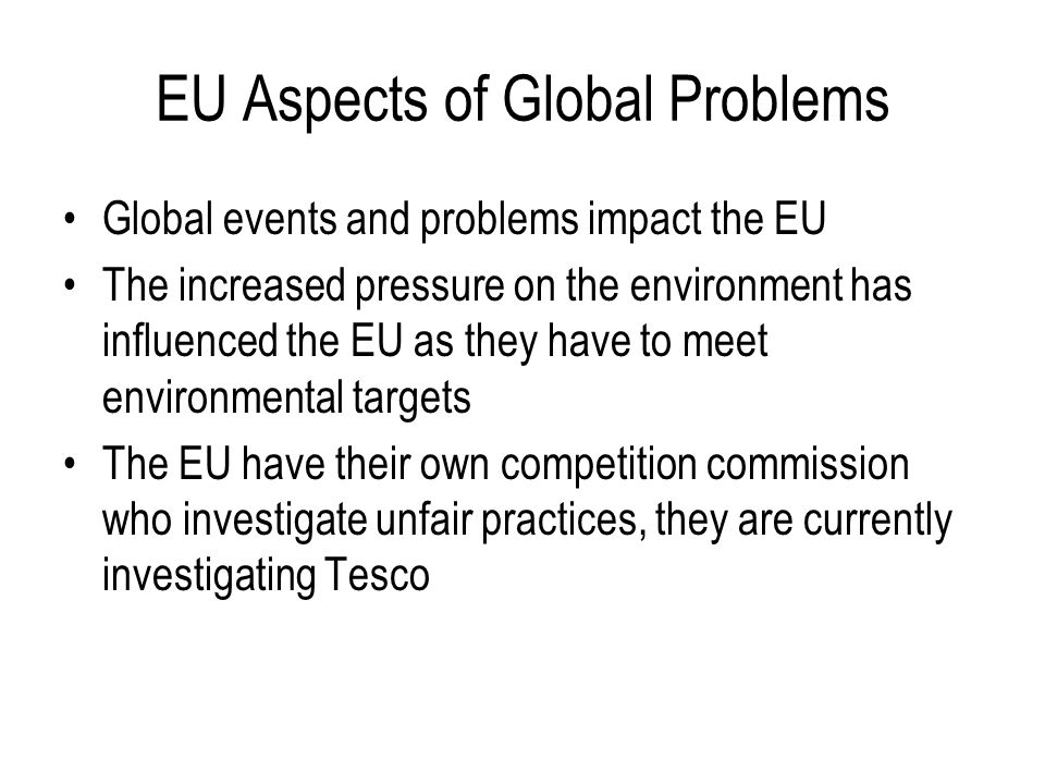 EU Aspects of Global Problems