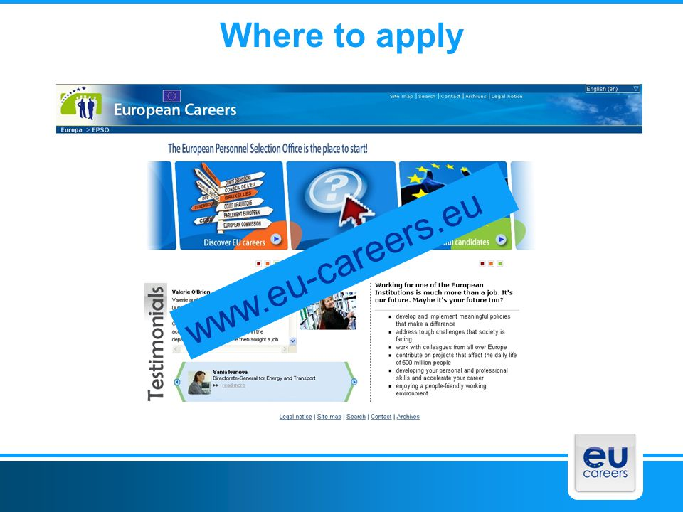 www.eu-careers.eu Where to apply