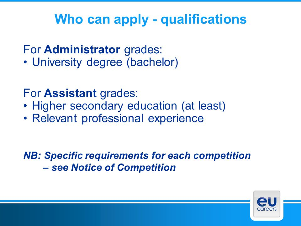 Who can apply - qualifications