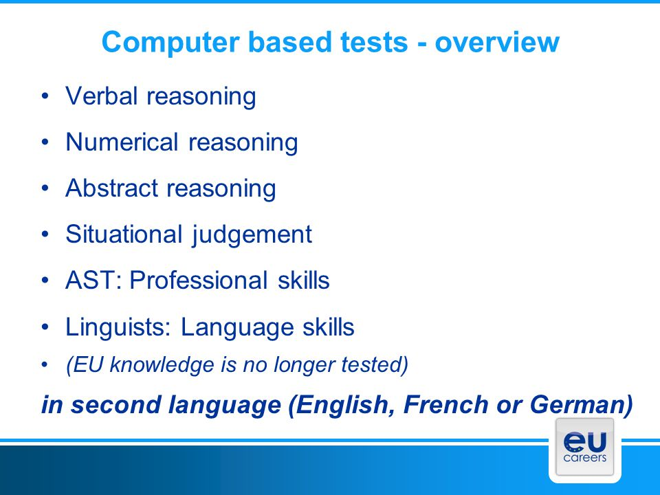 Computer based tests - overview