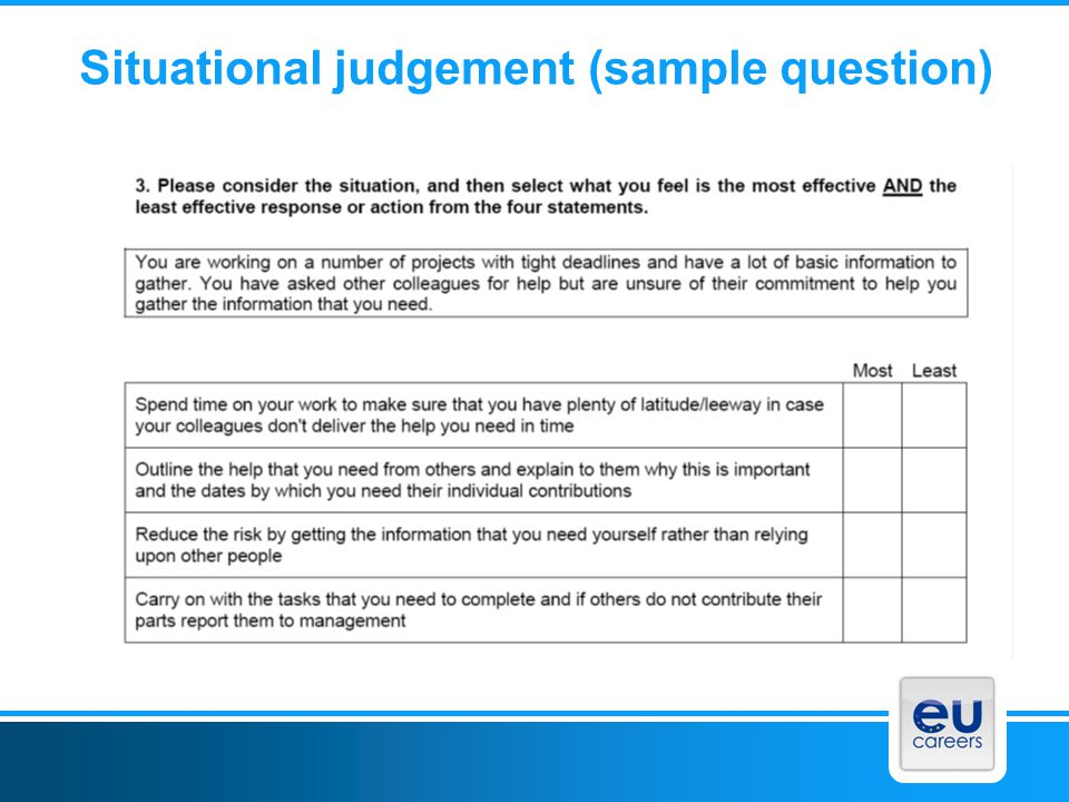 Situational judgement (sample question)