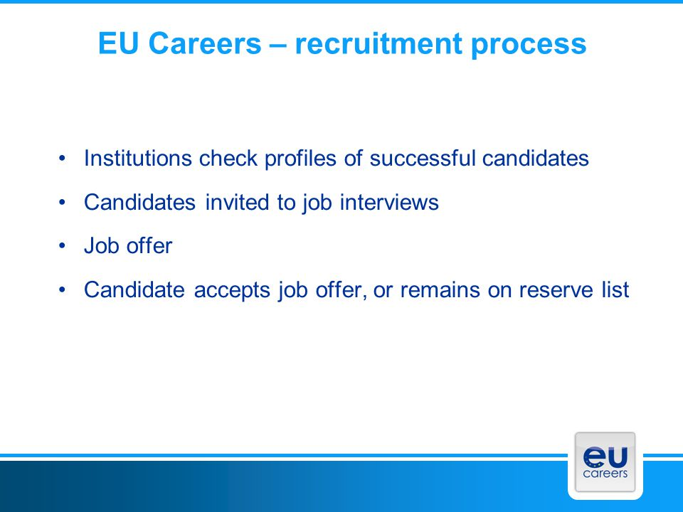 EU Careers – recruitment process