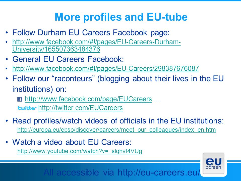 More profiles and EU-tube