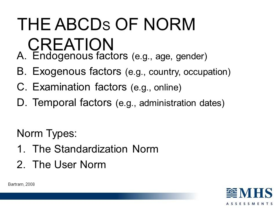 THE ABCDS OF NORM CREATION