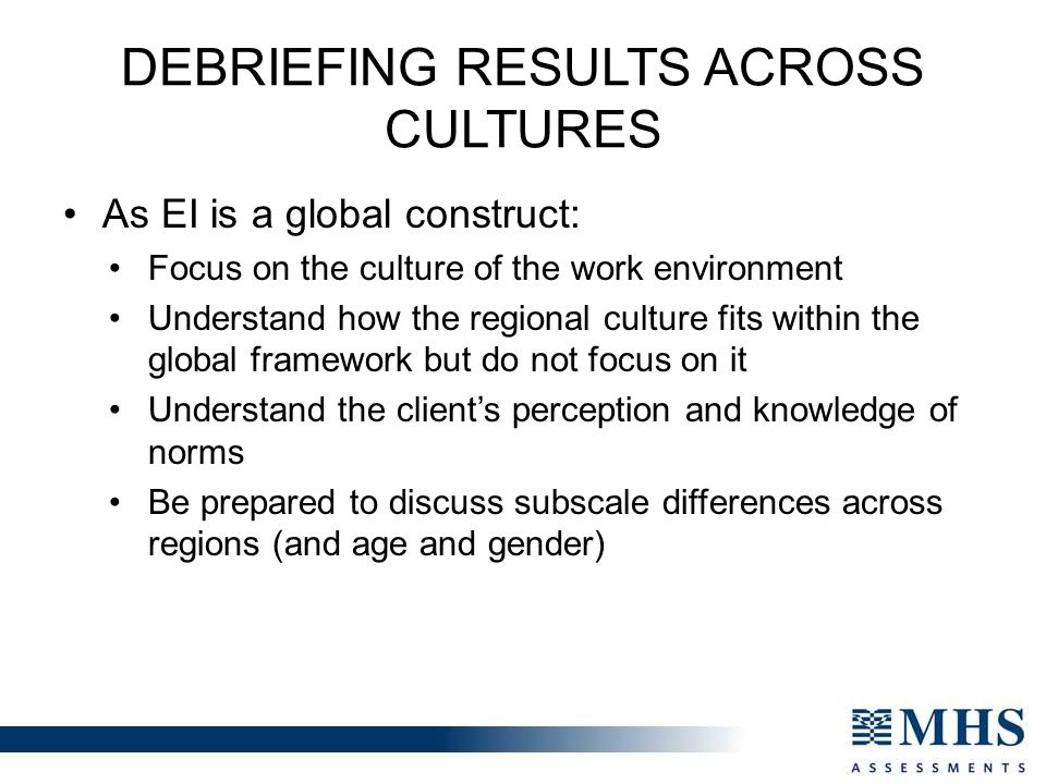Debriefing Results Across Cultures