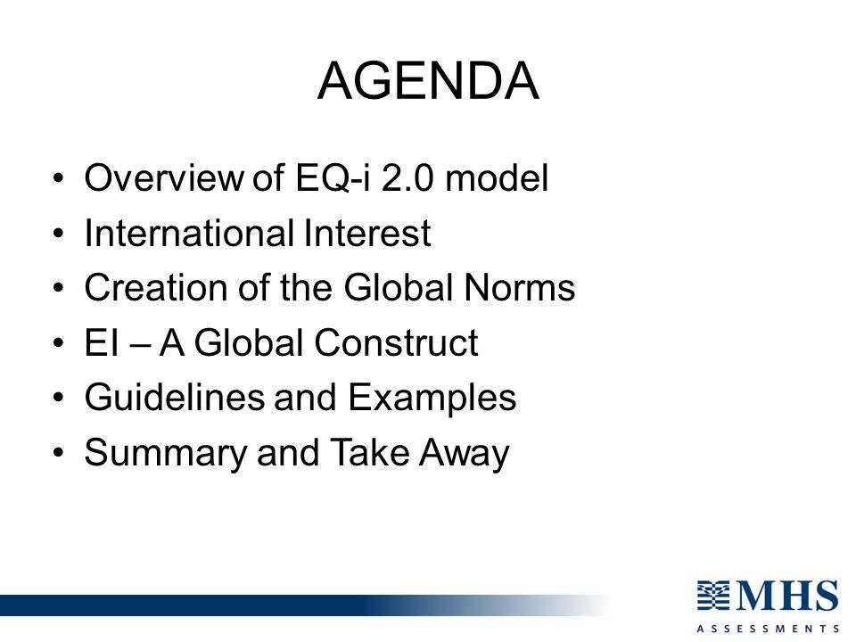 agenda Overview of EQ-i 2.0 model International Interest