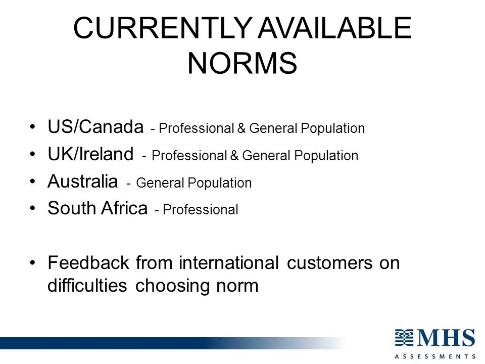 Currently Available Norms