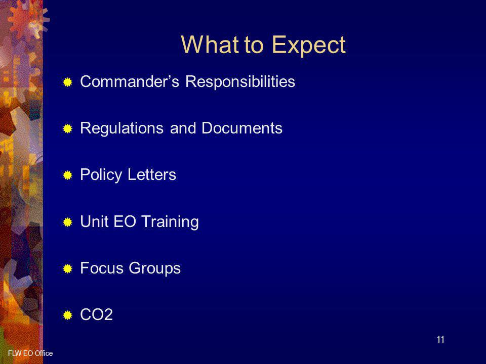 What to Expect Commander's Responsibilities Regulations and Documents